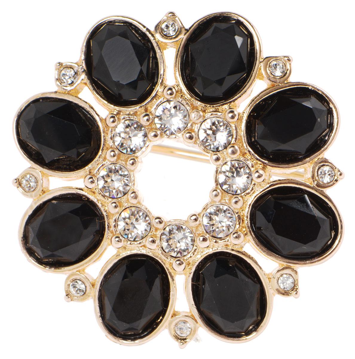 Брошь Jenavi Ениш, цвет: золотой, белый, черный. k320p606k320p606Стильная брошь Jenavi Ениш выполнена в виде цветка из гипоаллергенного ювелирного сплава с позолотой и дополнена вставками из кристаллов Swarovski. Изделие застегивается на классическую английскую булавку. Брошь Jenavi Ениш поможет дополнить любой образ и привнести в него завершающий яркий штрих.