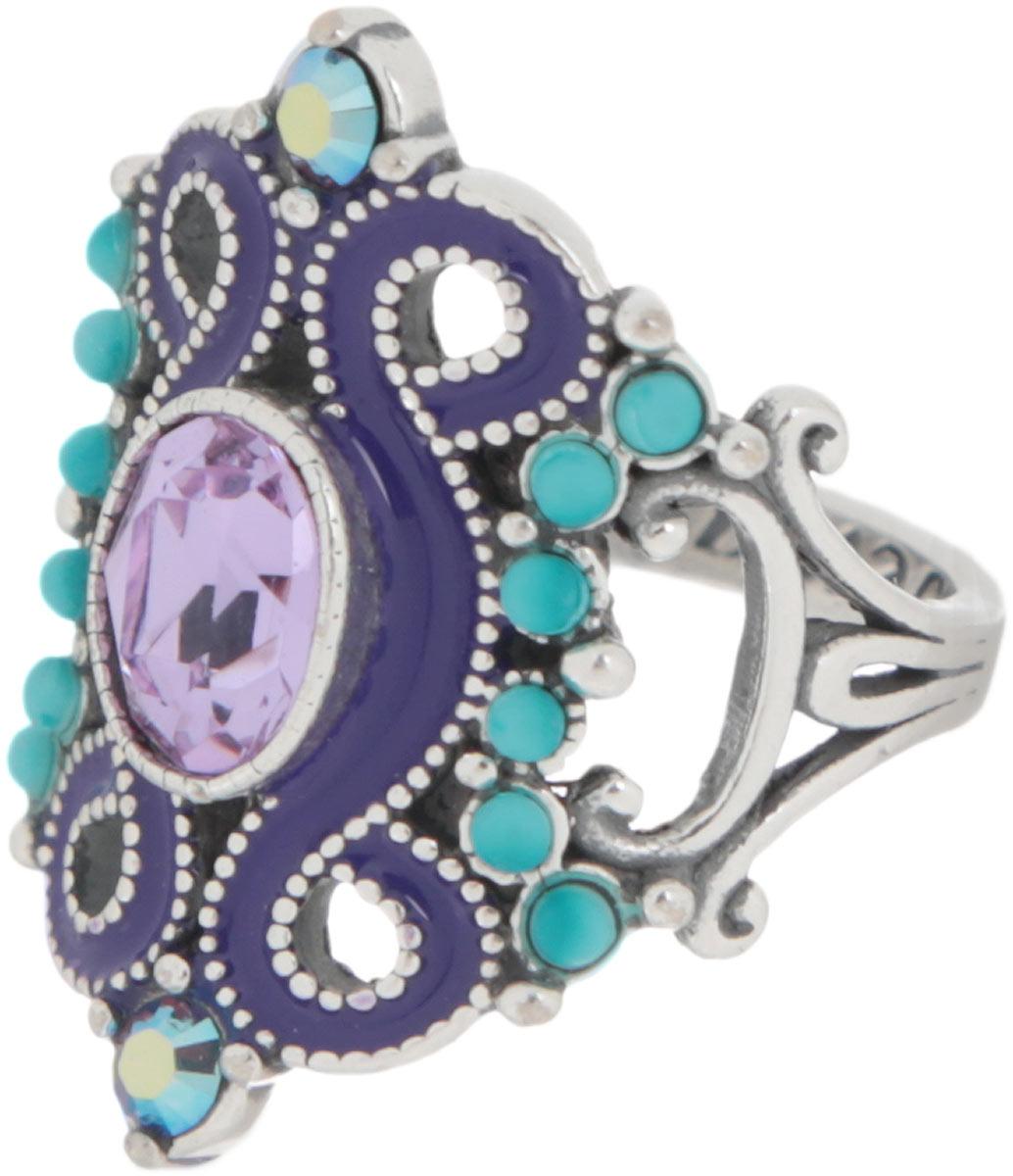 """Кольцо Jenavi """"Шер"""", цвет: серебристый, сиреневый, фиолетовый, бирюзовый. Размер 19"""