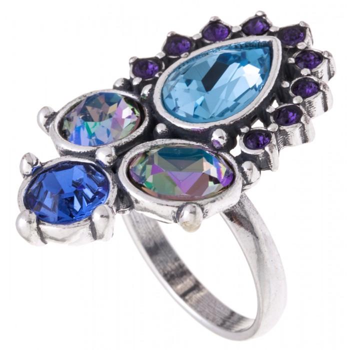 Кольцо Jenavi Сефория, цвет: серебряный, голубой. k3223040. Размер 16k3223040Кольцо Jenavi Сефория выполнено из ювелирного сплава с антиаллергическим гальваническим покрытием серебром. Изделие украшено сверкающими голубыми кристаллами Swarovski различных оттенков. Изысканное кольцо станет оригинальным аксессуаром как для повседневного, так и для вечернего наряда, оно подчеркнет вашу индивидуальность и неповторимый стиль, и поможет создать незабываемый уникальный образ.