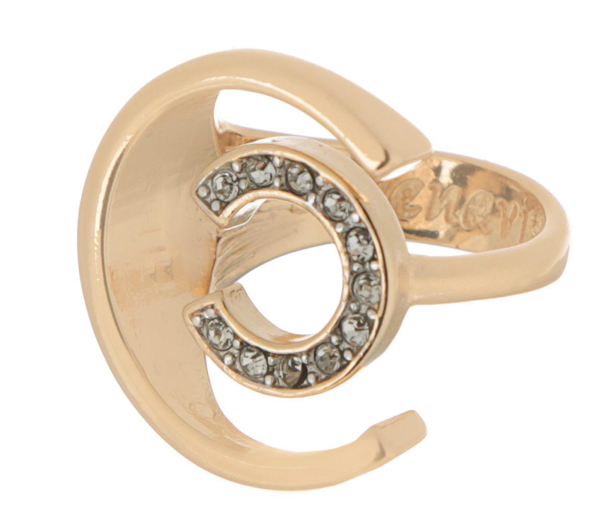 Кольцо Jenavi Форцетия, цвет: золотистый. Размер 20f506q000Элегантное кольцо Jenavi Форцетия выполнено из антиаллергического ювелирного сплава, покрытого позолотой с родированием. Декоративный элемент выполнен в виде двух полуокружностей разного диаметра, одна из которых инкрустирована гранеными кристаллами Swarovski. Стильное кольцо придаст вашему образу изюминку и подчеркнет индивидуальность.