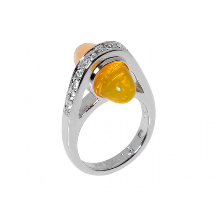 Кольцо Jenavi Марун, цвет: серебряный, коричневый, желтый. j424f0k7. Размер 16j424f0k7Кольцо оригинального дизайна Jenavi Марун изготовлено из гипоаллергенного ювелирного сплава с покрытием из серебра и родия. Дополняют кольцо стразы Swarovski и вставка из стекла оригинальной формы. Стильное кольцо придаст вашему образу изюминку и подчеркнет индивидуальность.