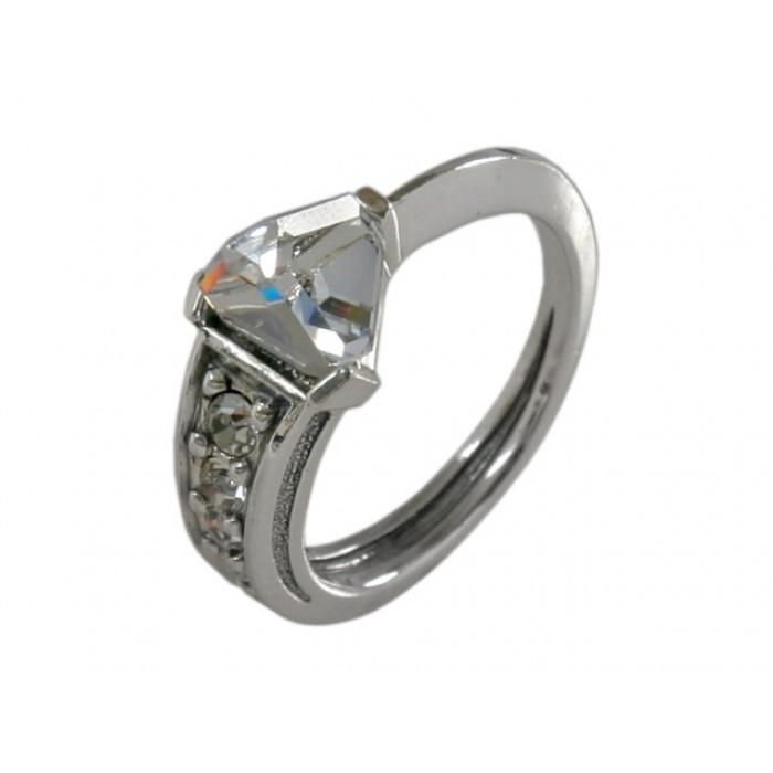 Jenavi Коллекция Бриллианты, Карат (Кольцо), цвет - серебро, белый, размер - 18h1573000Коллекция Бриллианты, Карат (Кольцо) гипоаллергенный ювелирный сплав,Черненое серебро, вставка Кристаллы Swarovski , цвет - серебро, белый, размер - 18