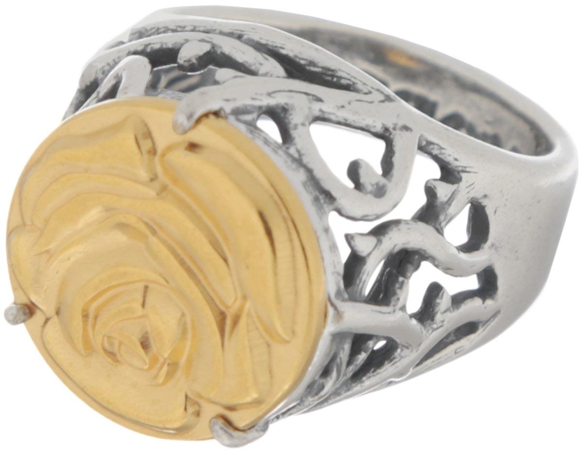 Кольцо Jenavi Форсети, цвет: серебряный, золотой. r693x090. Размер 18r693x090Эффектное кольцо-печатка Jenavi Форсети выполнено из ювелирного сплава с антиаллергическим гальваническим смешанным покрытием. Изделие декорировано ажурным литьем и тисненой розой на поверхности декоративного элемента. Стильное кольцо придаст вашему образу изюминку и подчеркнет индивидуальность.