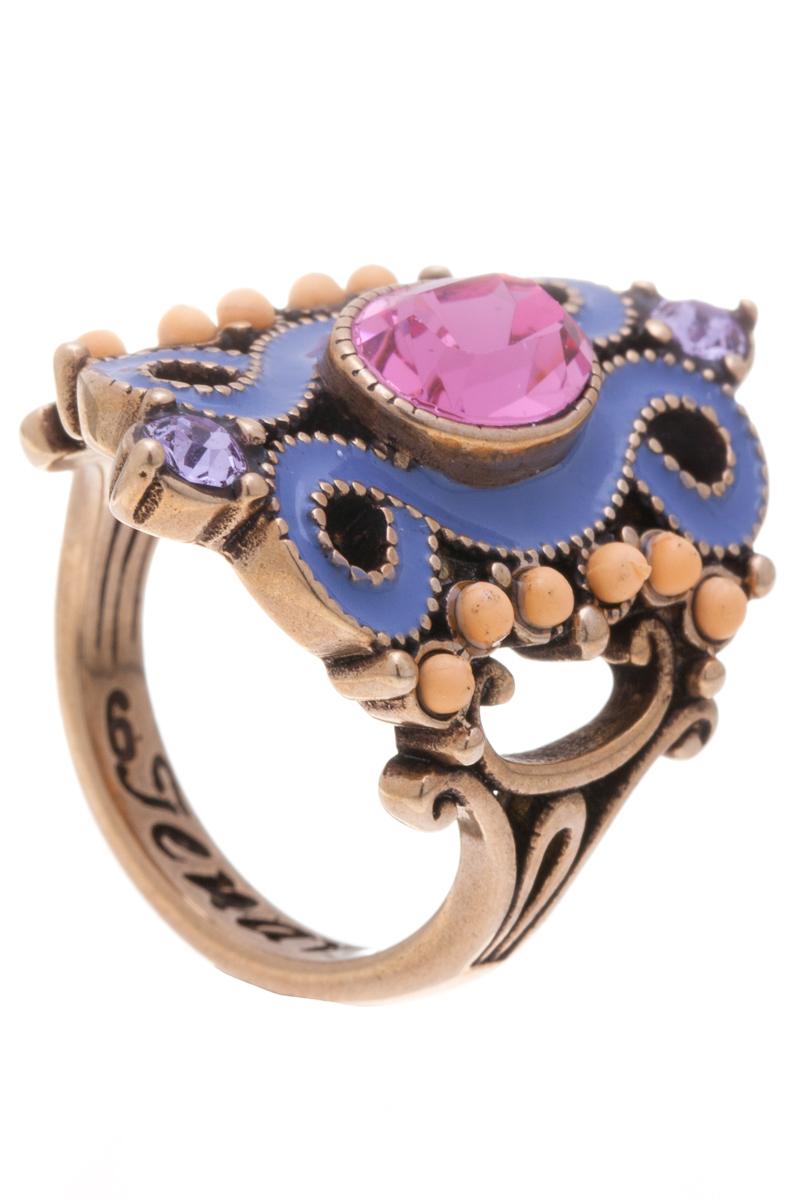 Кольцо Jenavi Шер, цвет: бронзовый, фиолетовый, розовый. f519w010. Размер 16f519w010Элегантное кольцо Jenavi Шер выполнено из ювелирного сплава с антиаллергическим гальваническим бронзовым покрытием. Изделие привлекает внимание оригинальной декоративной композицией. Декорировано кольцо гранеными кристаллами Swarovski, бусинами и цветной эмалью. Изысканное цветовое решение и оригинальный дизайн этого кольца не позволят вам остаться незамеченными.