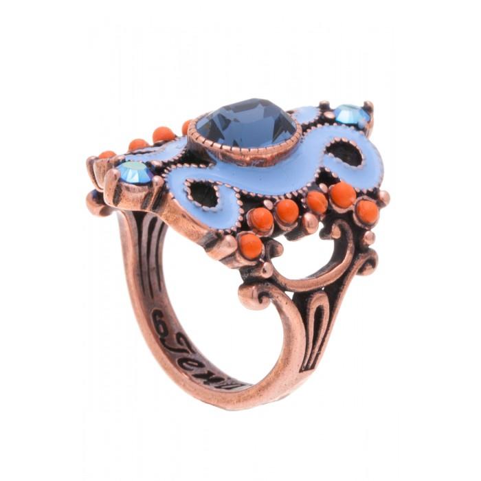 Кольцо Jenavi Шер, цвет: медный, голубой, оранжевый. f519u044. Размер 17f519u044Элегантное дизайнерское кольцо Jenavi Шер выполнено из ювелирного сплава с антиаллергическим гальваническим покрытием черненого серебра. Изделие привлекает внимание сложным ажурным литьем и красочной композицией. Декорировано кольцо гранеными кристаллами Swarovski. Изысканное цветовое решение и оригинальный дизайн этого кольца не позволят вам остаться незамеченными.