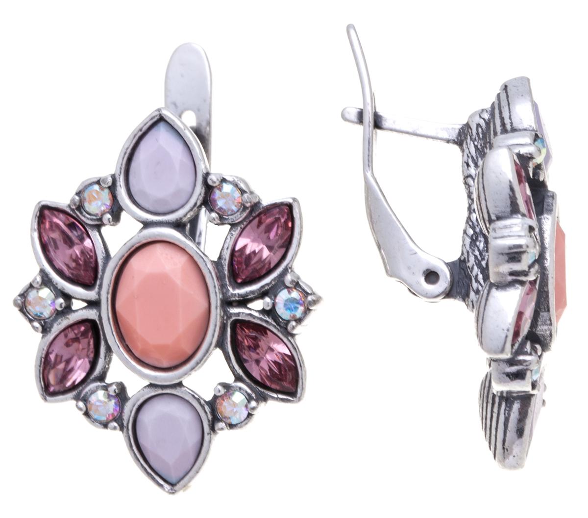 Серьги Jenavi Кангра, цвет: серебряный, розовый. k31631k7k31631k7Элегантные серьги Jenavi Кангра выполнены из ювелирного сплава с антиаллергическим гальваническим покрытием черненым серебром. Изделие оформлено сверкающими кристаллами Swarovski. Серьги застегиваются на удобную английскую застежку, которая эстетично включается в дизайн украшения. Изысканные серьги станут модным аксессуаром как для повседневного, так и для вечернего наряда, они подчеркнет вашу индивидуальность и неповторимый стиль, и помогут создать незабываемый уникальный образ.