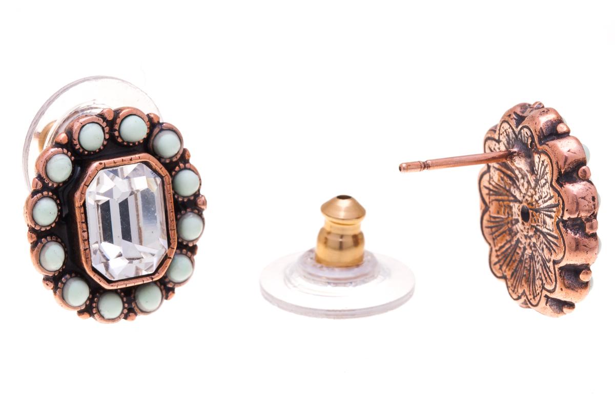 Серьги Jenavi Марбелья, цвет: медный, мятный, белый. f518u870f518u870Элегантные серьги Jenavi Марбелья выполнены из ювелирного сплава с антиаллергическим гальваническим медным покрытием. Изделие украшено сверкающим прозрачным кристаллом Swarovski. Серьги имеют удобный и практичный замок-гвоздик, который эстетично включается в дизайн украшения. Изящные серьги станут модным аксессуаром как для повседневного, так и для вечернего наряда, они подчеркнет вашу индивидуальность и неповторимый стиль, и помогут создать незабываемый уникальный образ.