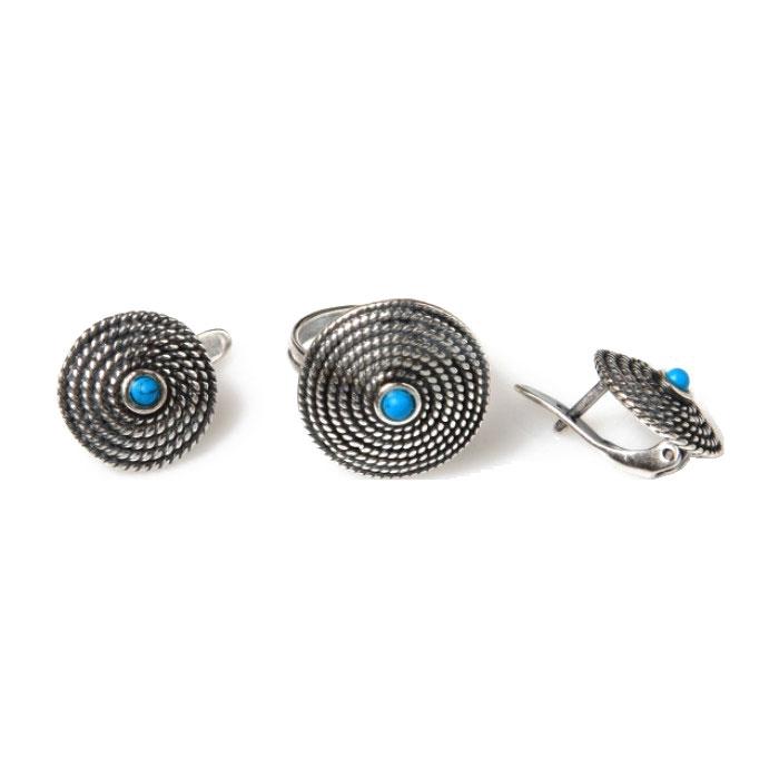 Комплект украшений Jenavi 'Фивы': кольцо, серьги, цвет: серебряный, голубой. d69232b0. Размер 15