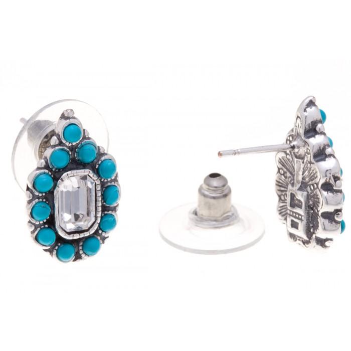 Серьги Jenavi Мурсия, цвет: серебряный, бирюзовый. f5173870f5173870Элегантные серьги Jenavi Мурсия выполнены из ювелирного сплава с антиаллергическим гальваническим покрытием черненого серебра. Изделие украшено сверкающими прозрачными кристаллами Swarovski и искусственными камнями. Серьги имеют удобный и практичный замок-гвоздик, который эстетично включается в дизайн украшения. Изящные серьги станут модным аксессуаром как для повседневного, так и для вечернего наряда, они подчеркнет вашу индивидуальность и неповторимый стиль, и помогут создать незабываемый уникальный образ.