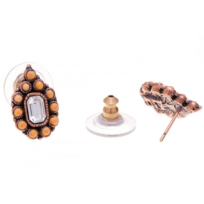 Серьги Jenavi Мурсия, цвет: медный, оранжевый, прозрачный. f517u870f517u870Элегантные серьги Jenavi Мурсия выполнены из ювелирного сплава с антиаллергическим гальваническим медным покрытием. Изделие украшено сверкающими прозрачными кристаллами Swarovski и искусственными камнями. Серьги имеют удобный и практичный замок-гвоздик, который эстетично включается в дизайн украшения. Изящные серьги станут модным аксессуаром как для повседневного, так и для вечернего наряда, они подчеркнет вашу индивидуальность и неповторимый стиль, и помогут создать незабываемый уникальный образ.