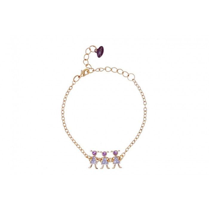 Браслет Jenavi 3Д, цвет: золотой, розовый, серебряный. r988q470r988q470Очаровательный браслет Jenavi 3Д изготовлен из гипоаллергенного позолоченного ювелирного сплава с родированием. Браслет выполнен в виде изящной цепочки классического плетения, которая украшена вставкой с фигурками трех девочек, инкрустированных кристаллами Swarovski. Изделие застегивается на замок-карабин и оснащено цепочкой для регулирования размера. Такой браслет позволит вам быть оригинальной, изящной и создать свой неповторимый образ. Красивое и необычное украшение блестяще подчеркнет изысканный вкус, женственность и красоту своей обладательницы и поможет внести разнообразие в привычный образ.