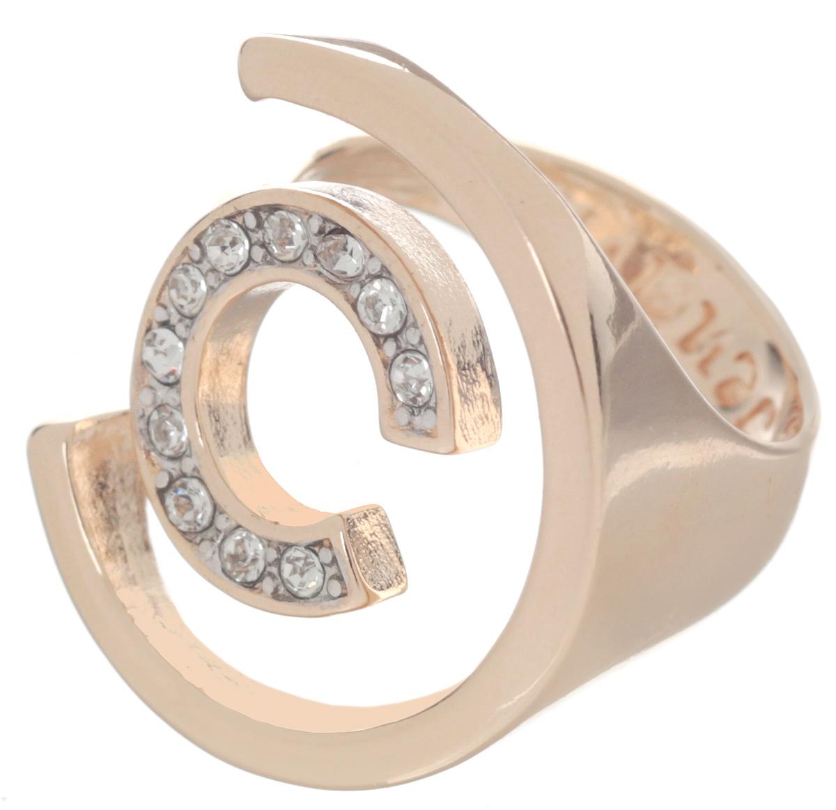 Кольцо Jenavi Форцетия, цвет: золотистый. Размер 16f506q000Элегантное кольцо Jenavi Форцетия выполнено из антиаллергического ювелирного сплава, покрытого позолотой с родированием. Декоративный элемент выполнен в виде двух полуокружностей разного диаметра, одна из которых инкрустирована гранеными кристаллами Swarovski. Стильное кольцо придаст вашему образу изюминку и подчеркнет индивидуальность.