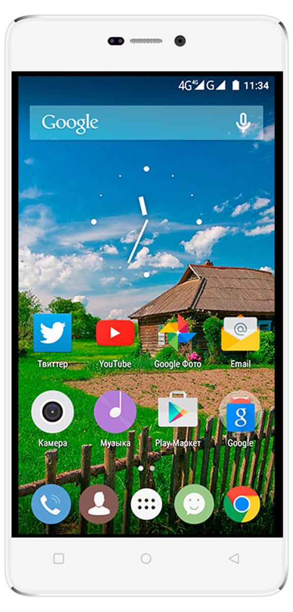 Highscreen Power Five Pro, Silver White23034Highscreen Power Five Pro - мощнейшая батарея в компактном корпусе! Главной особенностью смартфона является огромная батарея ёмкостью 5000 мАч, благодаря которой в режиме ожидания Highscreen Power Five Pro способен проработать до 20 дней без подзарядки. Наличие специальных энергосберегающих профилей позволяют оптимизировать расход аккумулятора и добиться максимального времени работы. Несмотря на рекордную ёмкость аккумулятора, разработчикам удалось достичь толщины корпуса 10 мм. Яркий и контрастный 5-дюймовый AMOLED-экран смартфона обладает HD-разрешением и обеспечивает максимальные углы обзора, а также невероятно сочные цвета. Экран Asahi Glass Dragontrail закалён по особой технологии. В комплект поставки Highscreen Power Five Pro входит инновационный чехол HiCover, который устанавливается вместо задней крышки и при сохранении минимальной толщины корпуса добавляет умную функциональность. Не открывая чехол вы можете отвечать...