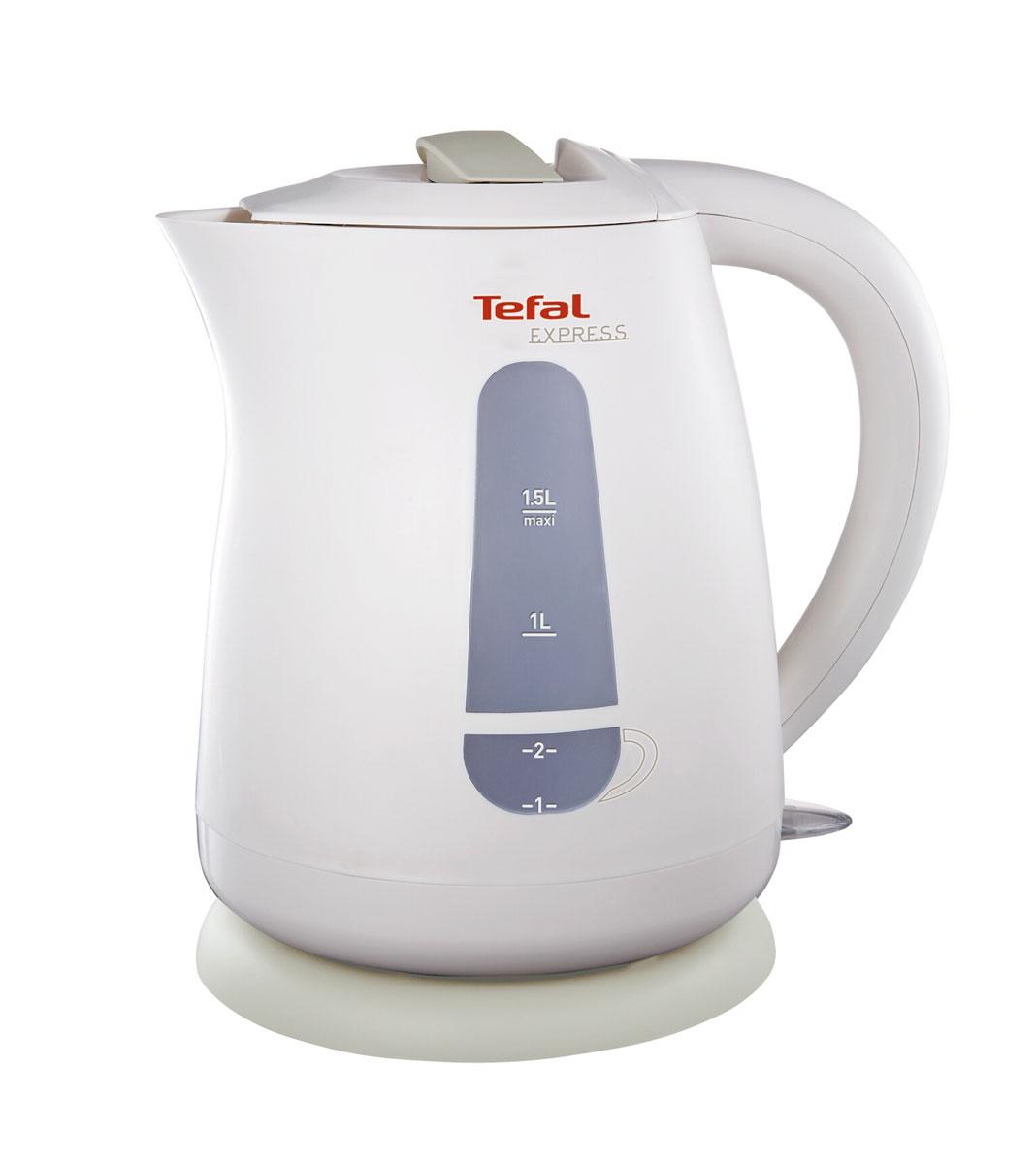 Tefal KO29913E Express Plastic электрический чайникKO2991Корпус электрического чайника Tefal KO29913E Express Plastic выполнен из термостойкого пластика. Горлышко достаточно большого диаметра, а также широко открывающаяся крышка поможет вам легко наливать воду и мыть чайник. Удобная кнопка Вкл / Выкл., расположенная внизу у основания ручки, служит бля быстрого включения устройства, а выключается чайник автоматически при закипании воды. Отличительными чертами Tefal KO29913E Express Plastic являются возможность блокировки крышки для дополнительной безопасности при использовании устройства, а также два индикатора уровня воды - для одной или двух чашек. Подставка позволяет чайнику свободно вращаться на 360°.