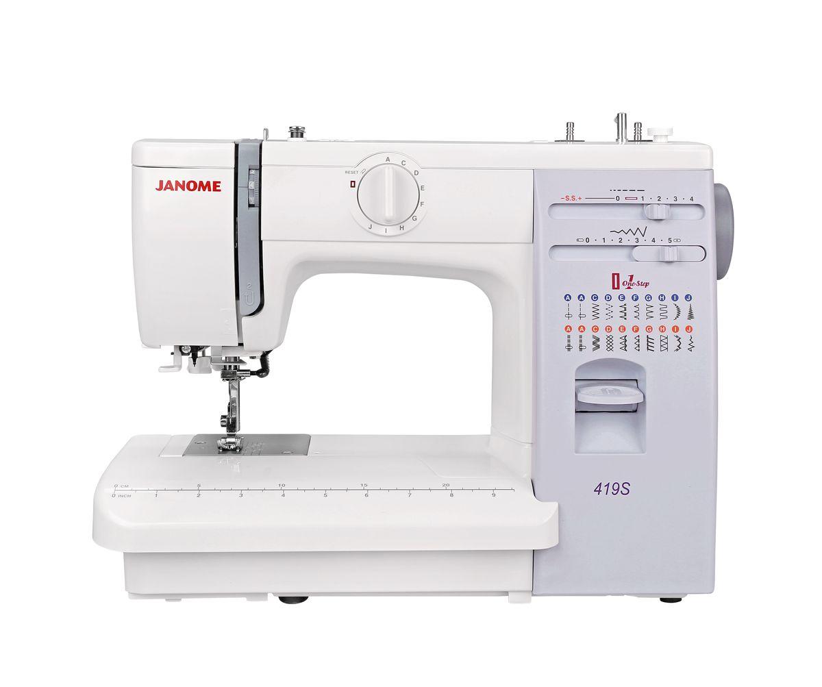 Janome 419S швейная машина4933621700188Janome 419S - швейная машина для шитья и ремонта одежды. Она оборудована надежным вертикальным качающимся челноком, применяемым в бытовых швейных машинах уже многие десятилетия. Швейная машина отлично подойдет для шитья с применением различных тканей: ситца, крепа, плащевой, бязи, тика, шелка, шифона, фланели, хлопчатобумажных тканей, а также полиэстера. Удобная и практичная техника выполняет автоматическую петлю, способна шить: потайную строчку, прямую, оверлочную, выполнять подшивку низа, прямую строчку, имеющую смещение влево, зигзаг. Кнопка реверса обеспечивает легкое управление с громоздкими вещами и позволяет делать закрепки коротким двойным нажатием. Конструкция швейной машинки позволяет снять часть столика, образуя удобную рукавную платформу, на которой комфортно обрабатывать манжеты, штанины и другие трубчатые детали одежды. В пенале под крышкой столика предусмотрен удобный отсек для хранений дополнительных принадлежностей. ...