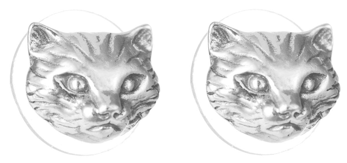 Серьги Jenavi Тимон, цвет: серебряный. f5353890f5353890Серьги Jenavi Тимон изготовлены из гипоаллергенного ювелирного сплава и оформлены покрытием из серебра с чернением. Изделие выполнено в виде головы кошки. В качестве основы изделия используется замок-гвоздик. Оригинальные серьги помогут дополнить любой образ и привнести в него завершающий яркий штрих.