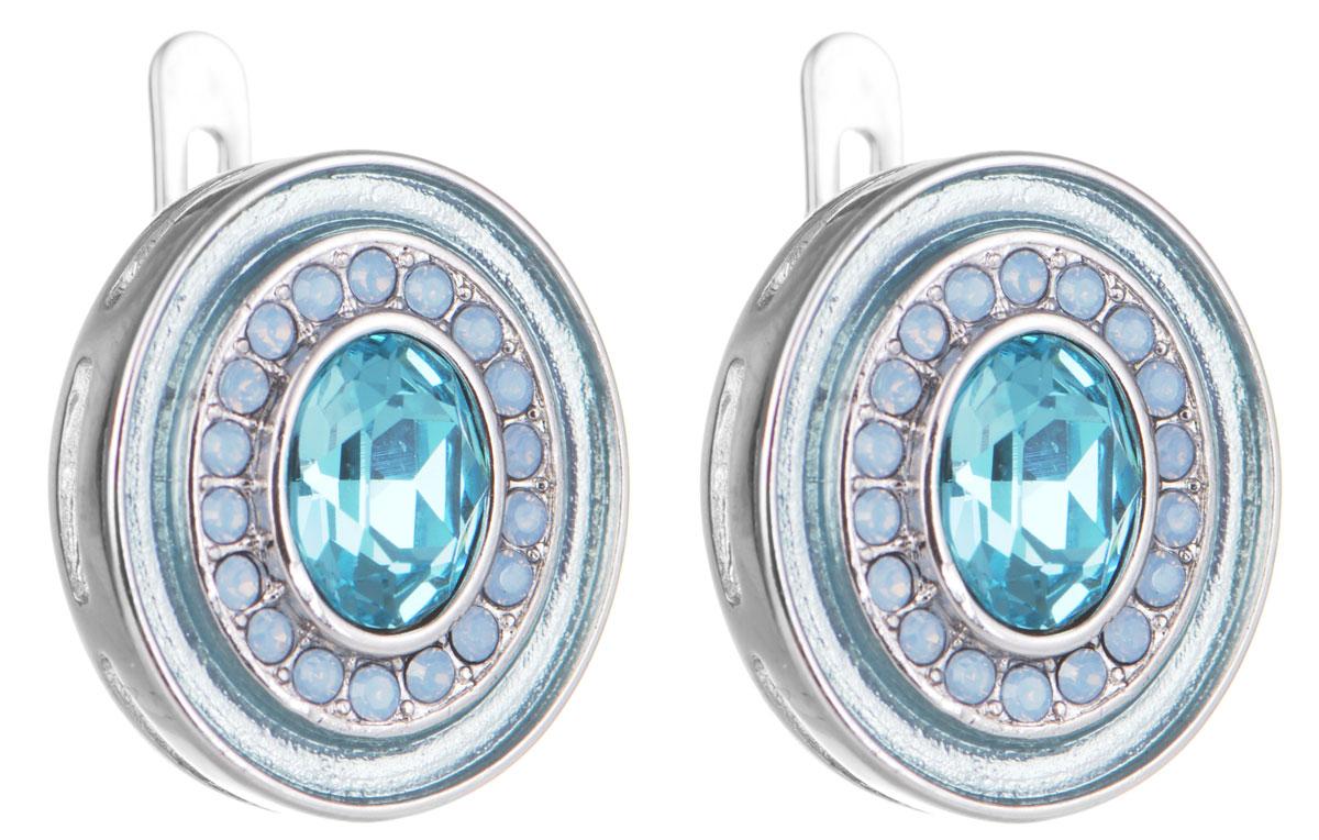 Серьги Jenavi Color 19, цвет: серебряный, голубой. f380f170f380f170Элегантные серьги Jenavi Color 19 выполнены из ювелирного сплава с антиаллергическим гальваническим покрытием серебром с добавлением родия. Изделие украшено сверкающими голубыми кристаллами Swarovski. Серьги застегиваются на практичную и надежную английскую застежку, которая эстетично включается в дизайн украшения. Изящные серьги станут модным аксессуаром как для повседневного, так и для вечернего наряда, они подчеркнут вашу индивидуальность и неповторимый стиль и помогут создать незабываемый уникальный образ.