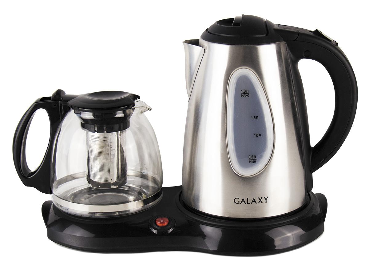 Galaxy GL0403 набор для приготовления чая4630003369154В набор Galaxy GL0403 входят два чайника – для кипячения воды и для заваривания, а также специальная платформа для подогрева заварочного чайника. Для большего аромата и улучшения вкусовых качеств чая имеется функция поддержания температуры для заварочного чайника. Стеклянный заварочный чайник емкостью 1 л Указатели максимального и минимального уровней воды Функция поддержания температуры для заварочного чайника