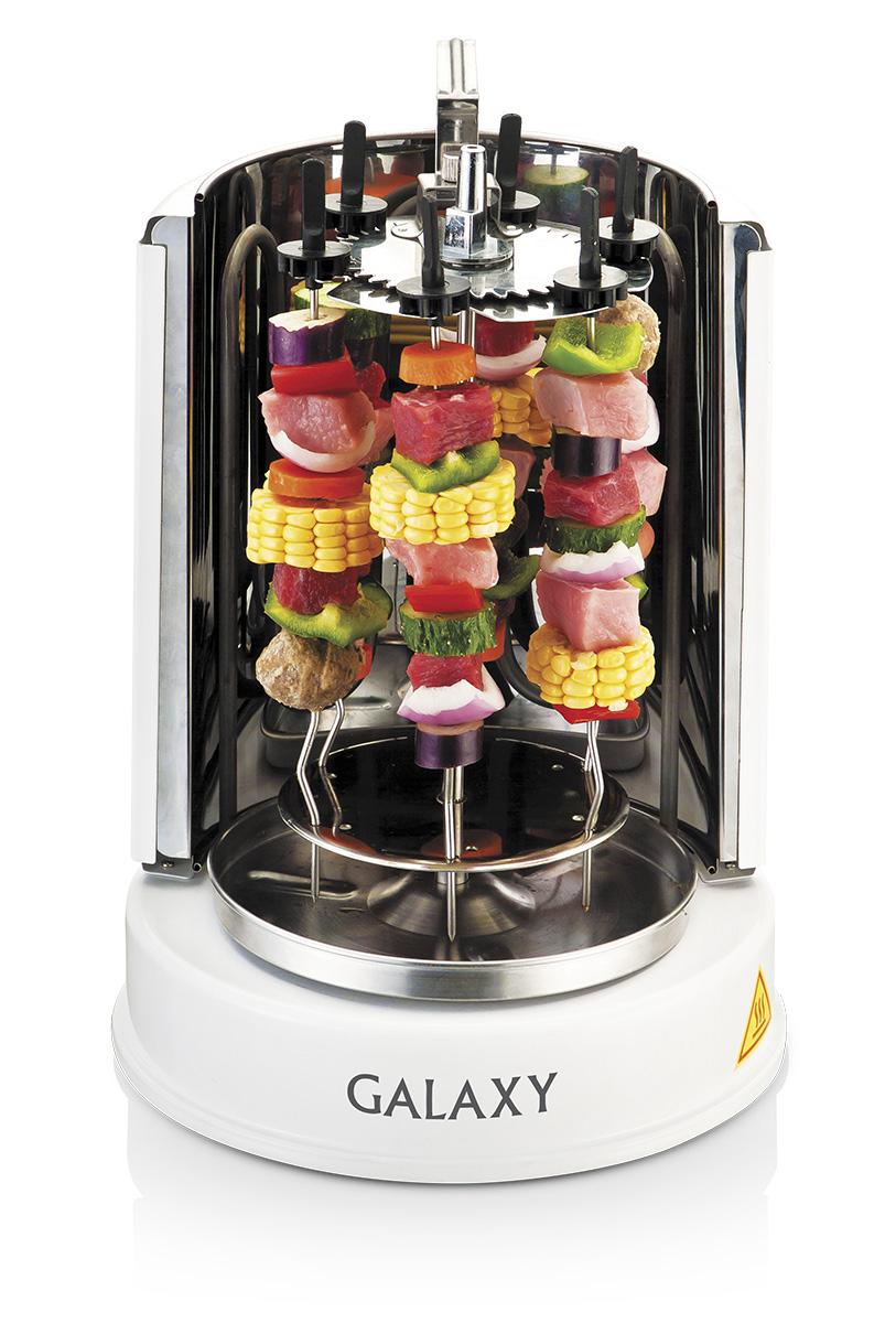 Galaxy GL2611 шашлычница-гриль4650067300719Электрошашлычница Galaxy GL2611 приготовит для вас любые виды шашлыка за считанные минуты! Шашлычница позволяет приготовить 2,5 кг мяса за раз на шести шампурах из нержавеющей стали. Автоповорот шампуров на 360 градусов позволяет прожаривать каждый кусочек равномерно. Центральный вертел из высококачественной нержавеющей стали предназначен для приготовления целого цыпленка или аппетитной шаурмы. Съемная емкость для сбора жидкости сохранит вашу кухню в чистоте! C Galaxy GL2611 вы приготовите шашлык, вкусовые качества которого ничуть не уступают вкусу традиционного шашлыка! Максимальная загрузка: 2,5 кг
