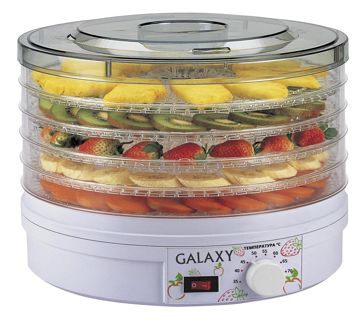 Galaxy GL2633 сушилка для овощей и фруктов4650067301563Сушка овощей и фруктов - это самый эффективный способ сохранить в них все важные для здоровья микроэлементы и витамины. С электросушилкой для продуктов Galaxy GL2633 процесс стал гораздо проще и эффективнее! Благодаря идеальному соотношению нужной температуры и скорости обдува продукты просушиваются равномерно и невероятно быстро! Во время сушки продуктов на открытом воздухе существует вероятность образования плесени и бактерий, ведь для качественной сушки очень важна неизменная температура окружающей среды. Кроме того, для сохранения полезных веществ, продукты должны просушиваться максимально быстро, чего бывает сложно добиться при сушке, к примеру, мяса или рыбы. С электросушилкой Galaxy GL2633 вы навсегда забудете об этих проблемах!