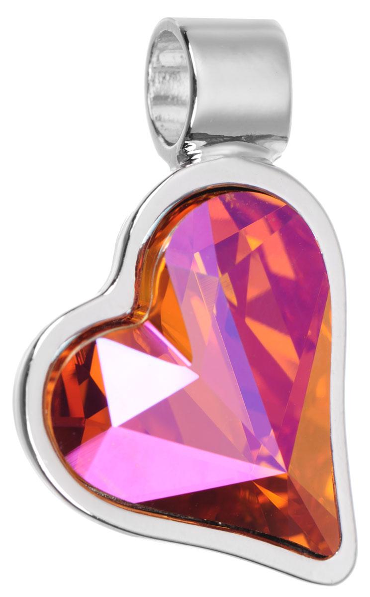 Подвеска Jenavi Зилба, цвет: серебряный, оранжевый. k256f311k256f311Оригинальная подвеска Jenavi Зилба выполнена из гипоаллергенного ювелирного сплава, оформлена покрытием из серебра и родия. Подвеска в форме сердца дополнена граненым кристаллом Swarovski. Изделие имеет отверстие, которое позволит использовать шнур или цепочку любого диаметра. Подвеска Jenavi Зилба поможет дополнить любой образ и привнести в него завершающий яркий штрих.
