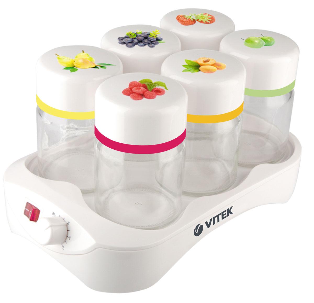 Vitek VT- 2600 W йогуртницаVT- 2600(W)Домашний йогурт – это не фантастика, если у вас есть йогуртница Vitek VT-2600 W. Компактное и надежное устройство порадует каждого, кто любит молочный десерт с разными вкусами. Простоту эксплуатации йогуртницы вы оцените при первом же ее использовании. Воспользовавшись таймером, вы можете приготовить десерт к нужному времени. А установив автоотключение - не ждать окончания работы устройства. Если же использовать данные опции одновременно, вы можете заняться любыми домашними делами и не переживать за приготовление йогурта! Йогуртница не перегревает кисломолочные продукты, что позволяет сохранить в них все полезные вещества. Легкий, вкусный, а главное полезный напиток из молока… Йогурт – тот продукт, который рекомендуется употреблять всем: от мала до велика. Однако не все знают, что йогурты, представленные на полках наших магазинов, натуральностью не отличаются. Вот почему есть смысл пользоваться замечательным прибором от Vitek – йогуртницой VT-2600, в...