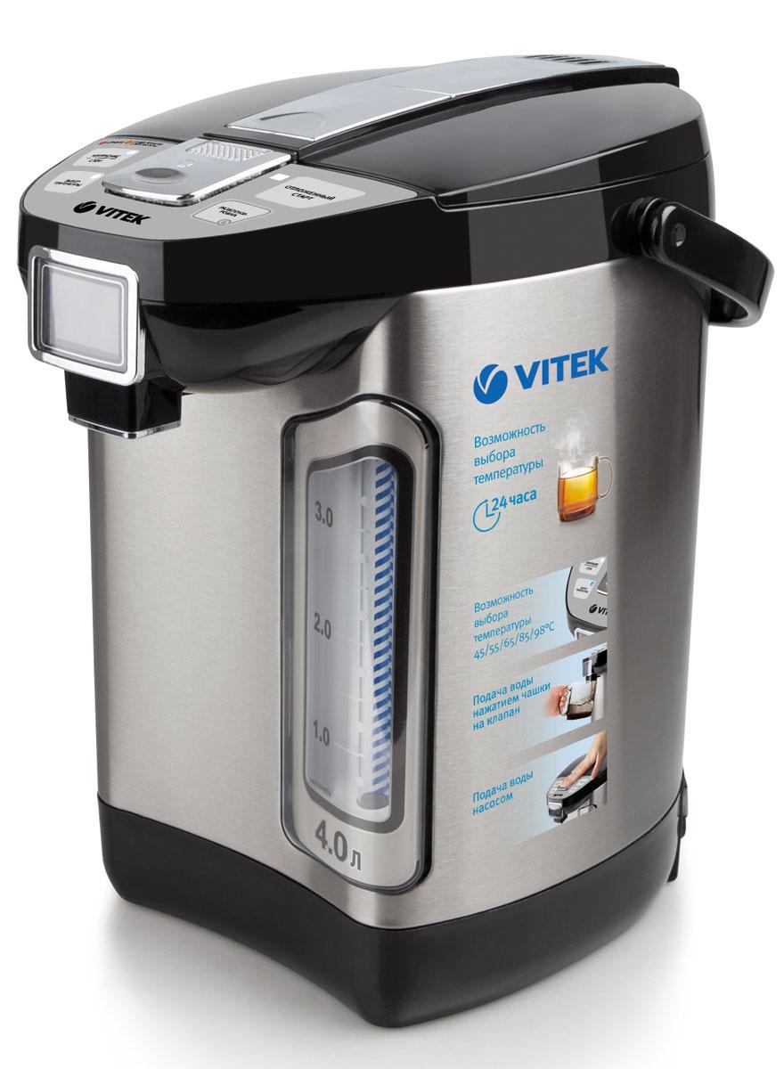 Vitek VT-1198 ST термопотVT-1198(ST)Если вы любите стильную и надежную технику, то термопот Vitek VT-1198 ST станет прекрасным приобретением! Вам понравится дизайн устройства. Корпус из нержавеющей стали дополняется черными пластиковыми вставками, за счет чего устройство будет прекрасно смотреться на любой кухне. Вы оцените и функциональность данного термопота. Вам не обязательно каждый раз доводить воду до кипения, если этого не требуется. Ведь в устройстве есть возможность нагрева воды от 45 до 98 градусов, что позволит значительно экономить электроэнергию. С данным термопотом чайная церемония превратится в настоящее удовольствие!