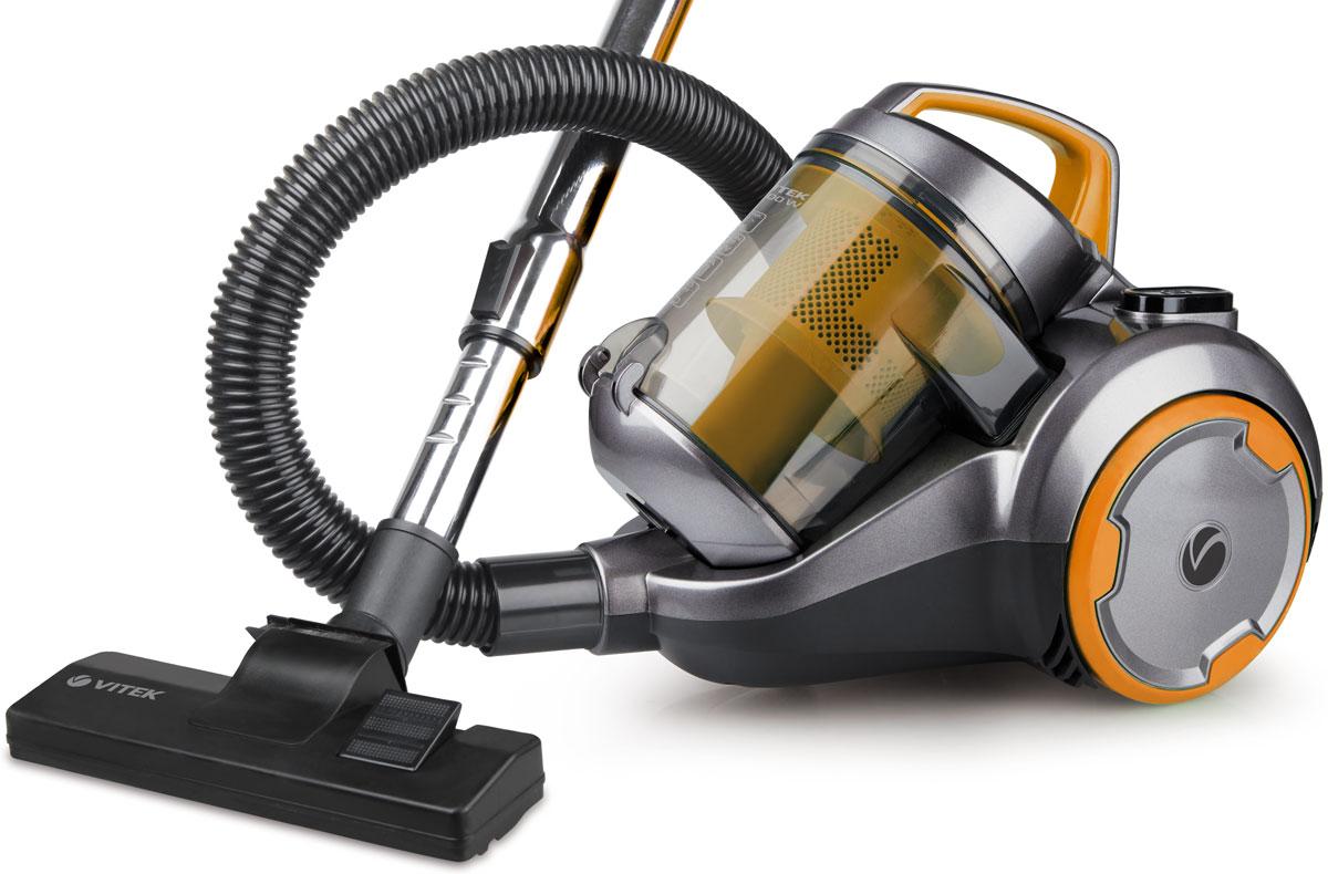 Vitek VT-1894 OR пылесосVT-1894(OR)Поддерживать чистоту в доме вам поможет пылесос без мешка для сбора пыли Vitek VT-1894 OR. Данная надежная техника отличается высокой мощностью всасывания, герметичностью резервуара для пыли и несколькими системами фильтрации для более качественной уборки. Пылесос без мешка для сбора пыли бренда Vitek обладает рядом преимуществ: Во-первых, он прост в использовании. Быстрое включение и выключение, изменение мощности всасывания, автоматическое сматывание шнура и многое другое значительно упрощает процесс эксплуатации устройства. Одновременно с этим емкость для сбора пыли легко извлекается. Для ее очистки необходимо лишь высыпать пыль в мусорное ведро и сполоснуть контейнер под проточной водой. Во-вторых, пылесос без мешка для сбора пыли Vitek дополняется рядом необходимых насадок для удаления пыли, грязи и мусора на разных поверхностях и в любых труднодоступных местах. В-третьих, оснащается системой Cyclonic, которая способствует прессованию...