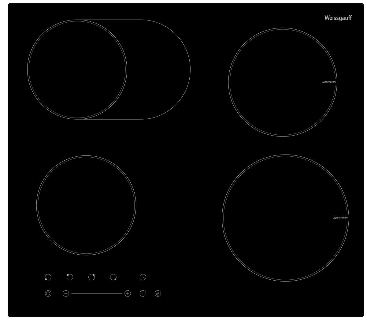 Weissgauff HIB 645 B варочная панель302620Самый главный атрибут любой кухни – плита, или, выражаясь более современным языком – варочная панель, экономящая пространство. Варочная панель Weissgauff HIB 645 B оснащена двумя индукционными и двумя Hi-Light конфорками. Регулировка температуры производится с помощью сенсорного слайдера. Таймер до 99 минут упрощает контроль за работой варочной панели. Сенсор удобно расположен на фронтальной части варочной панели. Автоматическое отключение и защитная блокировка от детей обеспечивают безопасность эксплуатации.