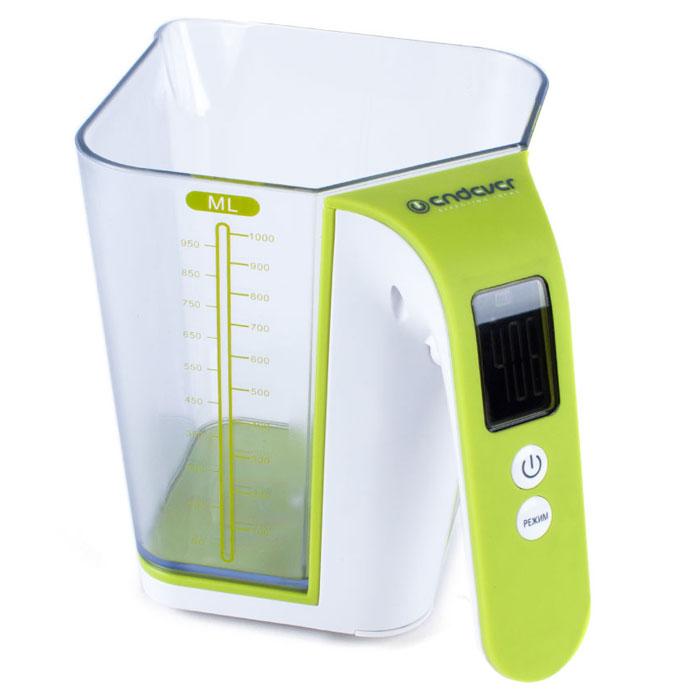 Endever KS-514, White Green весы кухонныеKS-514Кухонные весы Endever KS-514 - это высококачественный прибор, в котором применены новейшие технологии в области использования безопасных для здоровья материалов и компонентов. Удобная мерная шкала повышает точность и удобство измерения продуктов. LCD-дисплей с подсветкой позволяет наглядно выбрать единицы измерения и вид продукта. Весы обеспечат надежное и максимально точное взвешивание продуктов массой до 2 кг. Незначительная погрешность в 1 грамм позволит вам следовать даже самым сложным и точным рецептам. Стильный и современный дизайн весов впишется в любой кухонный интерьер. Съемная чаща выполнена из пищевого пластика, который не влияет на вкусовые качества измеряемых продуктов. Внутри есть специальная шкала деления, которая позволяет использовать чашу в качестве емкости для непосредственного смешивания. Индикация слабого заряда батареи Шкала объема в миллилитрах Емкость чаши: 1 л