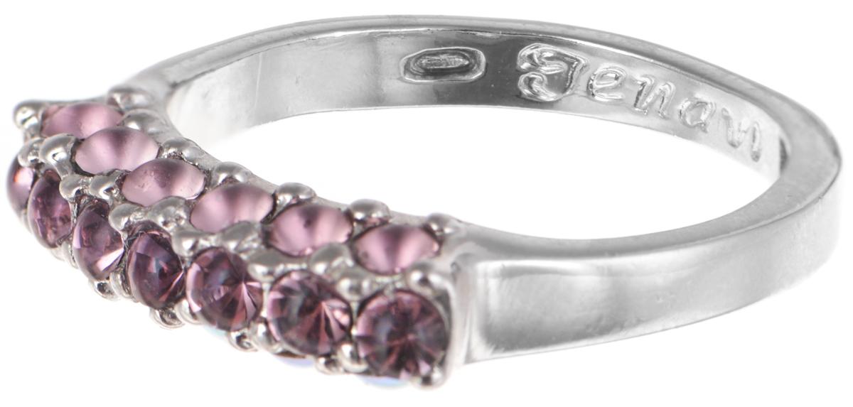 "Кольцо Jenavi ""Буисон"", цвет: серебристый, розовый. Размер 20"