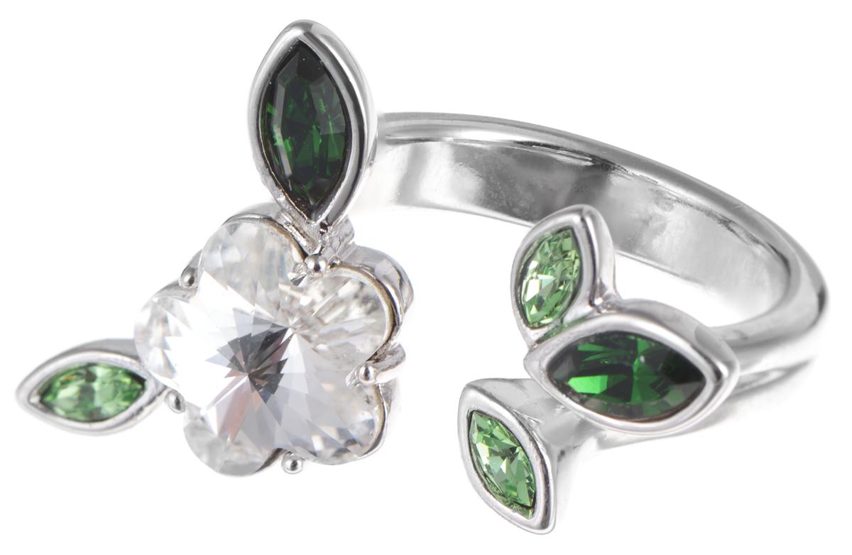 Кольцо Jenavi Яблоня, цвет: серебряный, зеленый, белый. e355f070e355f070Стильное кольцо Jenavi Яблоня выполнено из гипоаллергенного ювелирного сплава, оформлено покрытием из серебра и родия. Изделие дополнено декоративными элементами с кристаллами Swarovski. Оригинальная конструкция кольца делает его размер универсальным. Кольцо Jenavi Яблоня поможет дополнить любой образ и привнести в него завершающий яркий штрих.