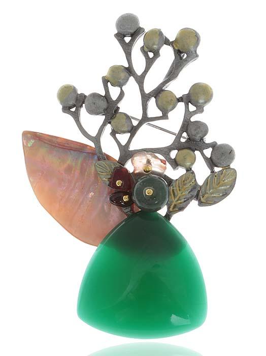 Брошь Цветущий сад. Натуральные агаты, перламутр, ювелирный акрил зеленого цвета, гипоаллергенный ювелирный сплав. Lisa Lone, Испанияk320p606Брошь Цветущий сад. Натуральный агат, перламутр, ювелирный акрил зеленого цвета, гипоаллергенный ювелирный сплав. Lisa Lone, Испания. Размеры: 7 х 5 см. Тип крепления - булавка с застежкой.