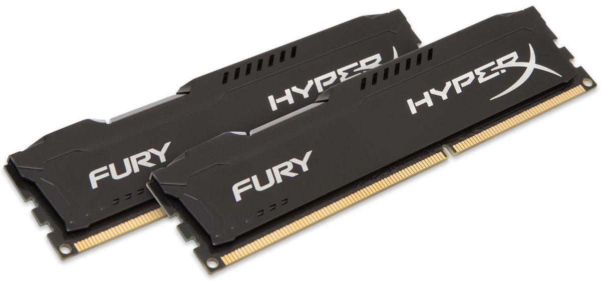 Kingston HyperX Fury DDR3 1866 МГц 2x4GB, Black комплект оперативной памяти (HX318C10FBK2/8)HX318C10FBK2/8Модули памяти Kingston HyperX FURY DDR3 автоматически разгоняются до максимальной заявленной частоты, а простота и автоматическая конфигурируемость позволяют быстрее включаться в игру и мгновенно выходить на высочайшие скорости, необходимые для победы. Благодаря низкому напряжению (от 1,35 В) потребляется меньше энергии и выделяется меньше тепла, при этом поддерживаются новые чипсеты Intel 100 Series. Ассиметричный и агрессивный дизайн модулей, а также высококачественный алюминий и граненая отделка позволят вам выделиться среди стандартных квадратных конструкций.
