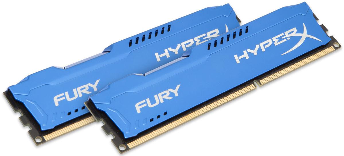 Kingston HyperX Fury DDR3 1600 МГц 2x4GB, Blue комплект оперативной памяти (HX316C10FK2/8)HX316C10FK2/8Комплект оперативной памяти Kingston HyperX Fury обеспечивает увеличенную рабочую частоту (по сравнению с DDR2) при сниженном тепловыделении и экономном энергопотреблении. Напряжение питания при работе составляет 1,5 В. В модуле также имеется 8 чипов с односторонним расположением. Общий объем памяти 8 ГБ позволит свободно работать со стандартными, офисными и профессиональными программами, а также современными требовательными играми. Работа осуществляется при тактовой частоте 1600 МГц и пропускной способности, достигающей до 12800 Мб/с, что гарантирует качественную синхронизацию и быструю передачу данных, а также возможность выполнения множества действий в единицу времени. Параметры тайминга 10-10-10 гарантируют быструю работу системы. Долгий срок использования устройства возможен благодаря качественным компонентам, которые встраиваются в конструкцию памяти. Асимметричный радиатор предохраняет от перегрева памяти, обеспечивая отвод тепла.