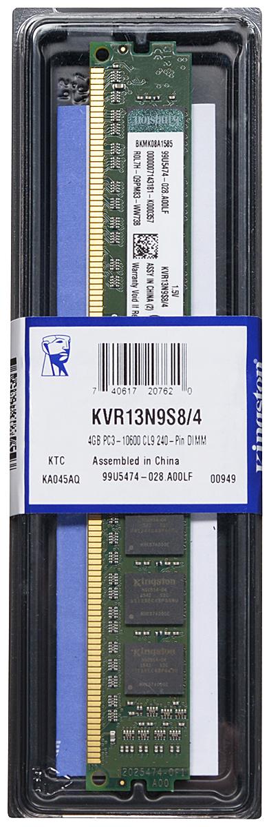 Kingston DDR3 4GB 1333 МГц модуль оперативной памяти (KVR13N9S8/4)KVR13N9S8/4Модуль оперативной памяти Kingston типа DDR3 обеспечивает увеличенную рабочую частоту (по сравнению с DDR2) при сниженном тепловыделении и экономном энергопотреблении. Напряжение питания при работе составляет 1,5 В. В модуле также имеется 8 чипов с односторонним расположением. Объем памяти 4 ГБ позволит свободно работать со стандартными, офисными и ресурсоемкими программами, а также современными нетребовательными играми. Работа осуществляется при тактовой частоте 1333 МГц и пропускной способности, достигающей до 10600 Мб/с, что гарантирует качественную синхронизацию и быструю передачу данных, а также возможность выполнения множества действий в единицу времени. Параметры тайминга 9-9-9 не принижают скорости работы системы. ValueRAM Kingston – это модули памяти, изготовленные в соответствии с отраслевыми стандартами, обеспечивающие непревзойденную производительность и отличающиеся легендарной надежностью Kingston.