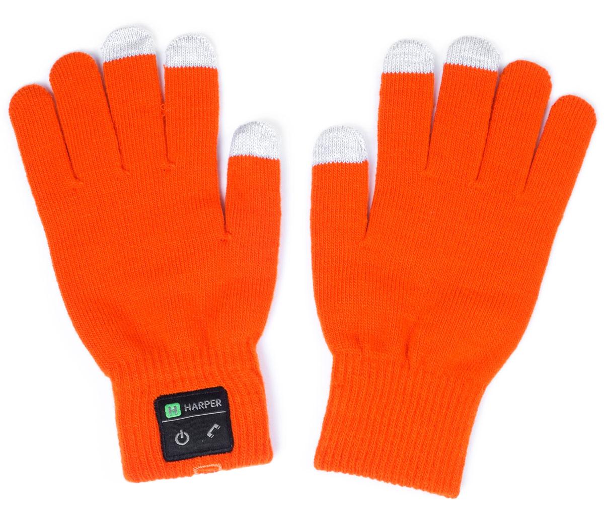 Harper HB-503, Orange перчатки с Bluetooth-гарнитуройH00000923Перчатки Harper HB-503 с Bluetooth-гарнитурой. В основе используется качественный материал, состоящий из акрила - 84%, спандекса - 10%, полиэстра - 6%. Аккуратная пряжа, шерсть не раздражает руки, без посторонних запахов. Неплохо согревают в зимнее время. В перчатках можно управлять устройством, не снимая их. Динамик расположен в большом пальце левой перчатки, а микрофон в мизинце. Модуль с двумя механическими кнопками (включение и ответ на вызов) находится на боковой части. Для того чтобы не пропустить входящий вызов, в конструкции корпуса предусмотрена вибрация. Размер: L