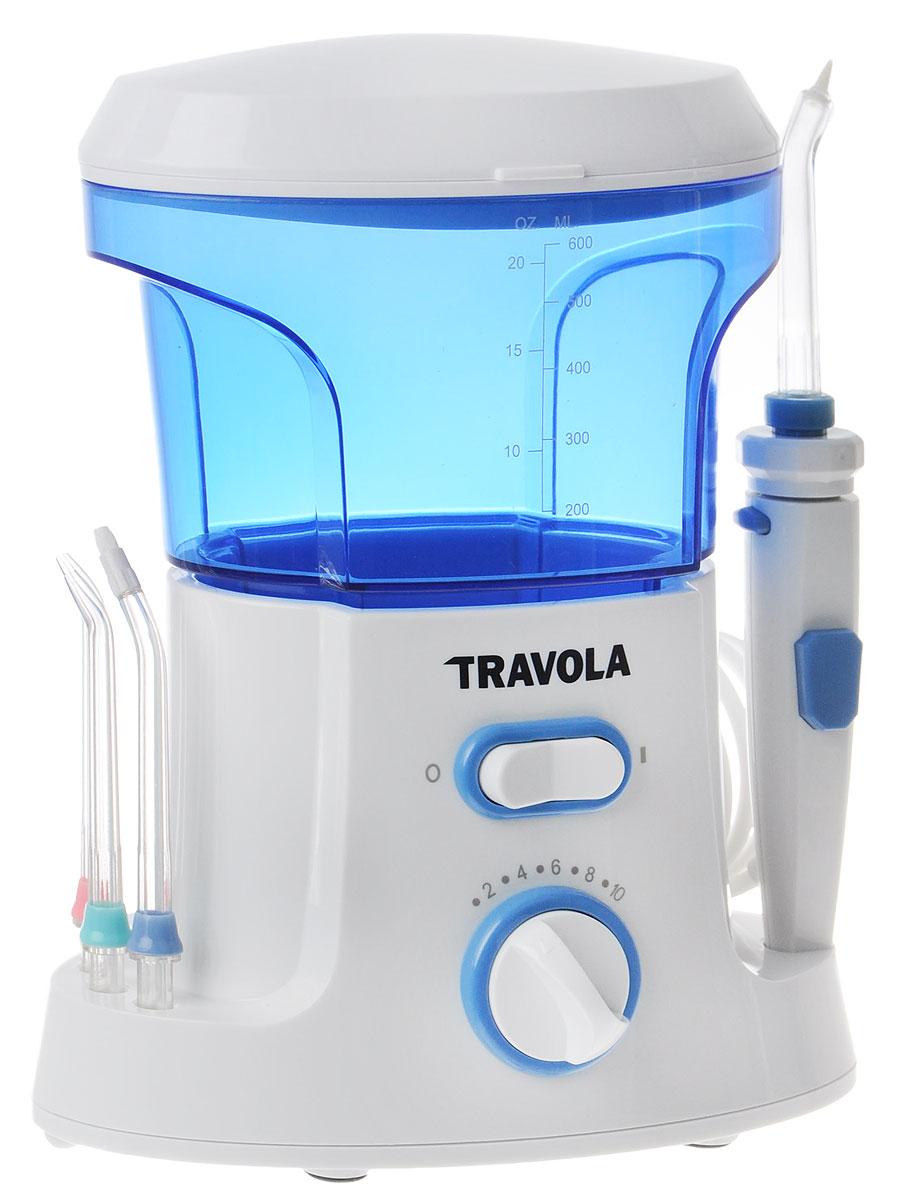 Travola FL-V9 Семейный ирригаторFL-V9Благодаря уникальному сочетанию давления и пульсации воды, ирригатор Travola FL-V9 эффективно удаляет бактерии и остатки пищи между зубами. Массажный эффект улучшает микроциркуляцию крови. Прибор действует за счет давления воды и пульсации, удаляет вредные бактерии, которые находятся в недоступных участках зубов и под линией десен - там, где обычная щетка не справляется. В комплект входят стандартные насадки: Струйная насадка Насадка для чистки языка Tongue Cleaner Tip Насадка для удаления зубного налета Plague Seeker Tip Так же в набор входят специальные насадки: Насадка для чистки зубных карманов Tooth Pocket Tip подает воду или антибактериальные растворы в перидонтальные карманы Насадка для чистки брекетов Orthodontic Tip имеет уникальную конструкцию, которая обеспечивает очистку труднодоступных мест вокруг скоб и прочих дентальных изделий Удаляет до 99,9% бактерий и загрязнений между...