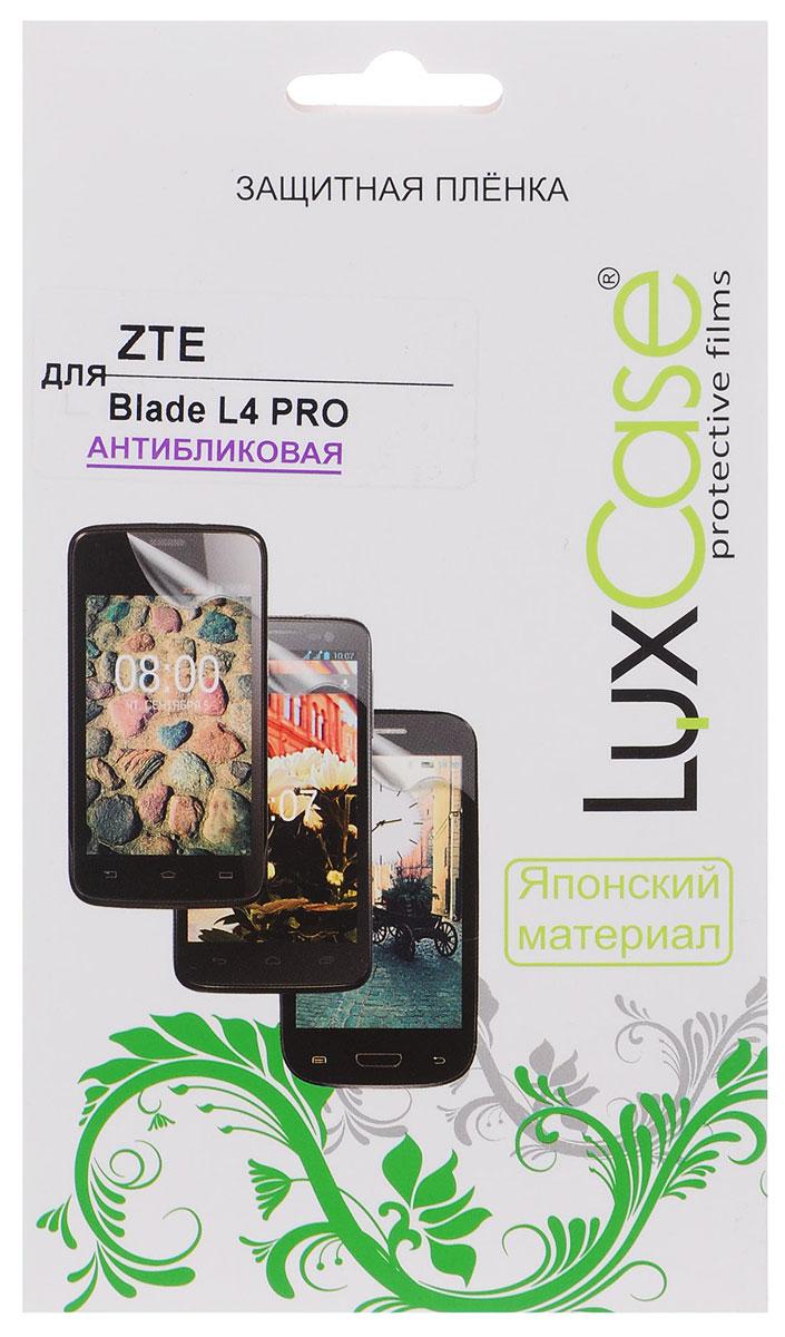 LuxCase защитная пленка для ZTE Blade L4 Pro, антибликовая51427Защитная пленка Luxcase для ZTE Blade L4 Pro сохраняет экран смартфона гладким и предотвращает появление на нем царапин и потертостей. Структура пленки позволяет ей плотно удерживаться без помощи клеевых составов и выравнивать поверхность при небольших механических воздействиях. Пленка практически незаметна на экране смартфона и сохраняет все характеристики цветопередачи и чувствительности сенсора.