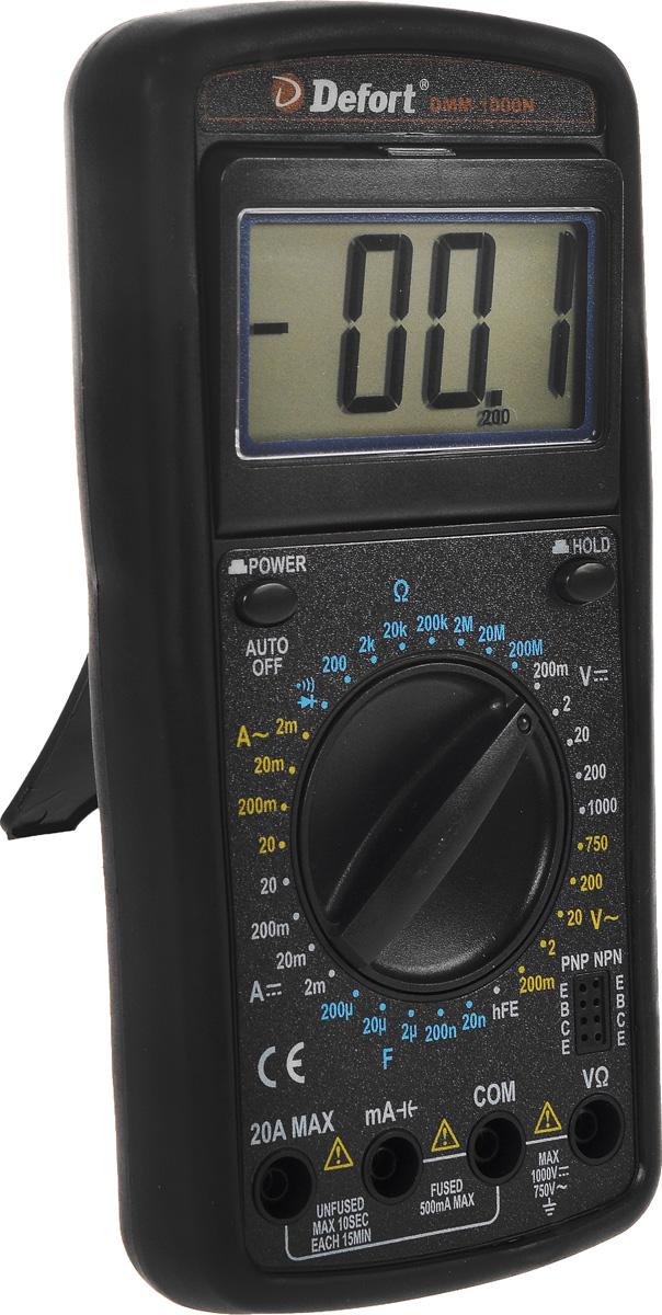 Мультитестер Defort DMM-1000N, цвет: черный98298123_черныйЦифровой мультитестер Defort DMM-1000N предназначен для измерения напряжения постоянного тока (V DC), силы постоянного тока (A DC), напряжения переменного тока (V AC), силы переменного тока (А АС), сопротивления (Ом), для проверки диодов, а также непрерывности электрических цепей (прозвонки). Особенности: Широкий диапазон применения; Защитный резиновый чехол. Постоянное напряжение: 0-1000 В Переменное напряжение: 0-750 В Постоянный ток: 0-20 А Переменный ток: 0-20 А Сопротивление: 0-20 МОм Индикация перегрузки Индикация полярности