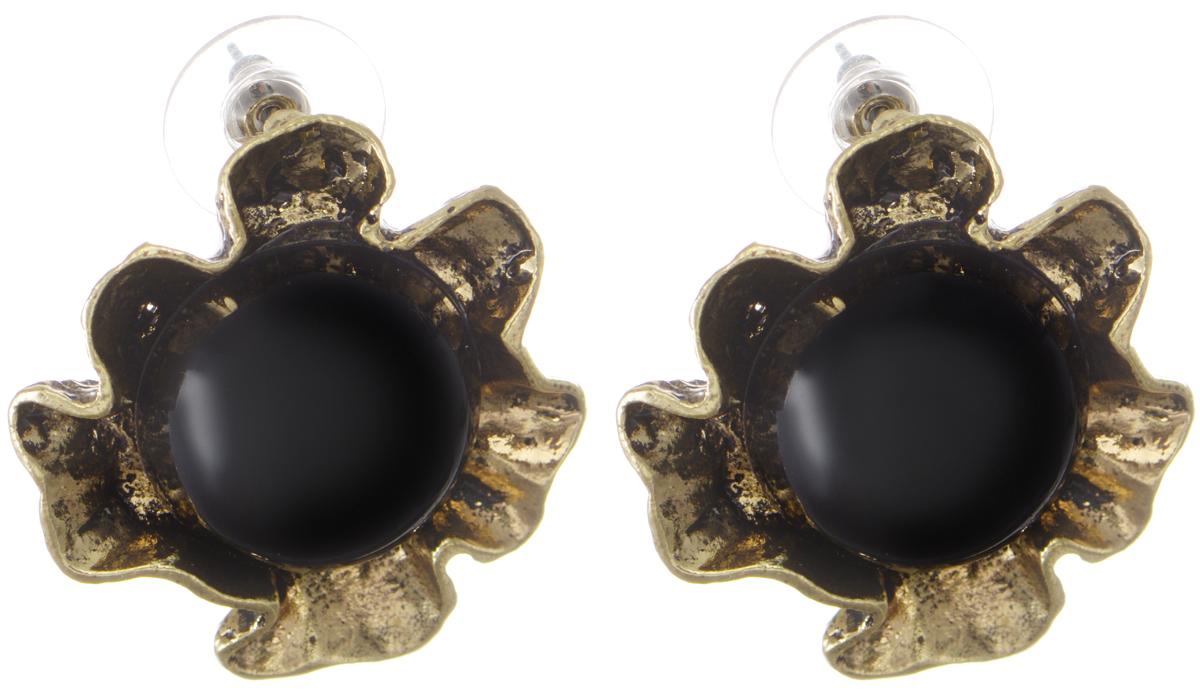 Серьги Taya, цвет: золотистый, черный. T-B-9838T-B-9838-EARR-GL.BLACKЭлегантные серьги современного дизайна Taya изготовлены из металлического сплава и дополнены черными вставками в виде полусфер. В качестве основания изделия используется замок-гвоздик с заглушками, который надежно зафиксирует сережку. Стильные серьги помогут дополнить любой образ и привнести в него завершающий яркий штрих.
