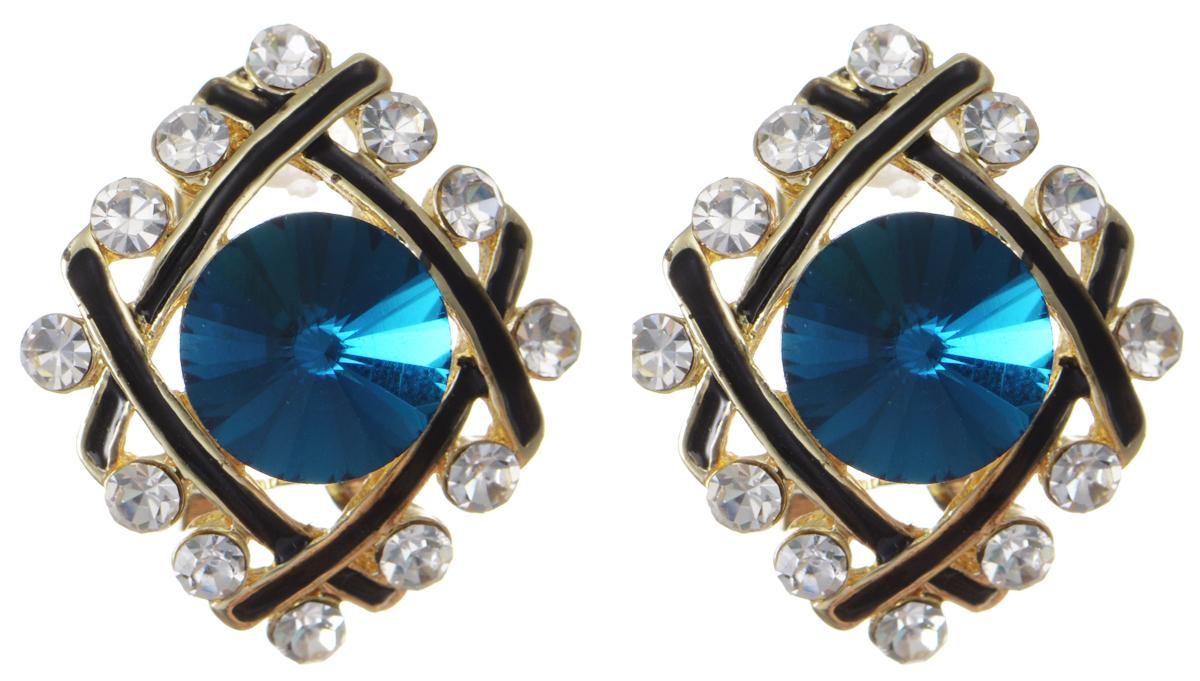 Серьги Taya, цвет: золотистый, темно-синий. T-B-10030T-B-10030-EARR-GL.D.BLUEЭлегантные серьги современного дизайна Taya изготовлены металлического сплава. Серьги ромбовидной формы дополнены вставками из стекла и эмали, центральная часть сережек украшена крупным кристаллом. В качестве основания изделия используется замок-омега, который надежно зафиксирует сережку. Стильные серьги помогут дополнить любой образ и привнести в него завершающий яркий штрих.