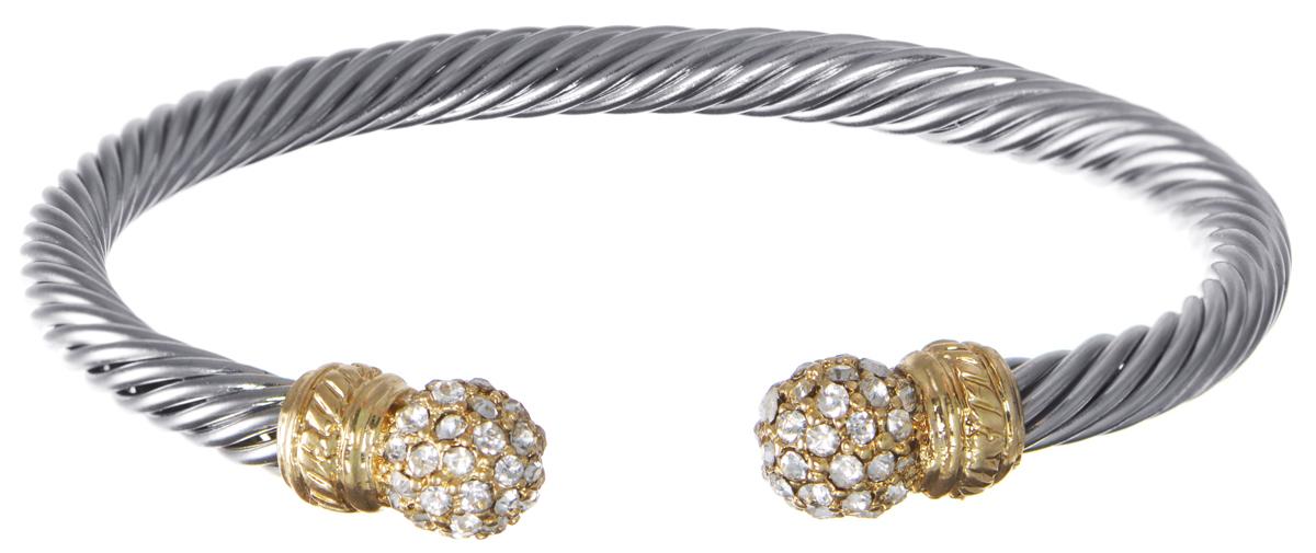 Браслет Taya, цвет: серебристый, золотистый. T-B-5961T-B-5961-BRAC-SL.GOLDБраслет современного дизайна Taya выполнен из металлического сплава и стекла. В качестве основы украшения выступает металлический жгут, который дополнен двумя декоративными элементами и стразами. Благодаря своей конструкции изделие имеет универсальный размер. Стильный браслет поможет дополнить любой образ и привнести в него завершающий яркий штрих.