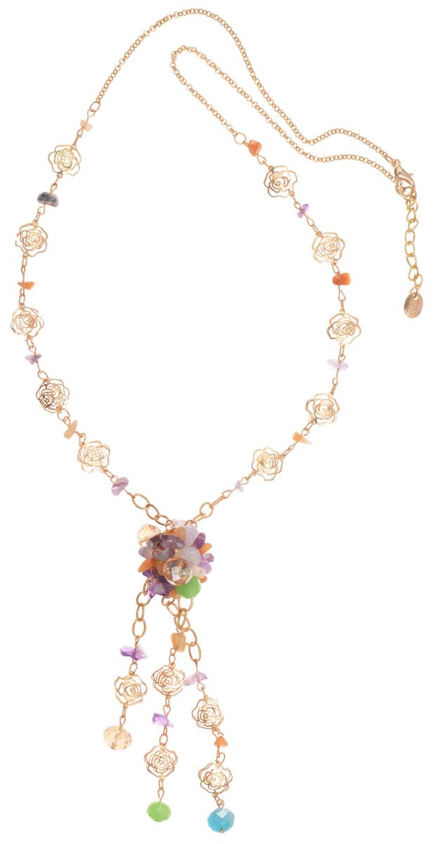 Колье Taya, цвет: золотистый, зеленый, фиолетовый. T-B-10187T-B-10187-NECK-GL.MULTIКолье современного дизайна Taya изготовлено из металлического сплава, стекла и натурального камня. Изделие оформлено оригинальными декоративными элементами в форме розочек, а также гранеными стеклянными бусинами и натуральными камнями. Колье застегивается на замок-карабин, в цепочке предусмотрены дополнительные звенья для регулировки длины изделия. Такое колье поможет дополнить любой образ и привнести в него завершающий штрих.