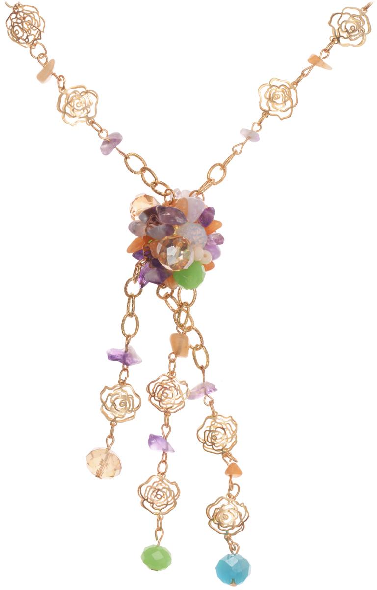 Колье Taya, цвет: золотистый, зеленый, фиолетовый. T-B-10187