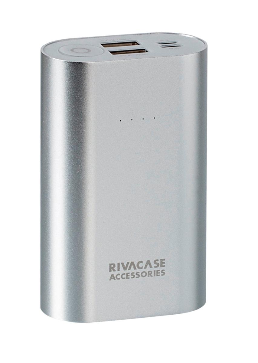 Rivapower VA1010 внешний аккумуляторVA 1010Rivapower VA1010 - литий-ионный внешний аккумулятор емкостью 10000 мАч. Два входа устройства предназначены для заряда аккумуляторной батареи через кабель с Micro - USB разъемом или через оригинальный кабель Apple Lightning. Два USB - выхода с суммарным током до 3,1А, позволяют быстро заряжать 2 устройства одновременно. Rivapower VA1010 совместим с наиболее популярными мобильными устройствами, в том числе и с iPhone, iPad. Подключите мобильное устройство к аккумулятору и зарядка начнется, а по ее завершении устройство выключится автоматически. Четыре светодиодных индикатора на лицевой стороне покажут уровень заряда аккумулятора. Защита от перегрева, перезаряда, переразряда, перегрузки по току и короткого замыкания не позволит устройству выйти из строя при перегрузках. Надежный алюминиевый корпус защищает Rivapower VA1010 от случайного повреждения, поглощает и отводит тепло, производимое аккумулятором. Полностью заряженный аккумулятор Rivapower VA1010...