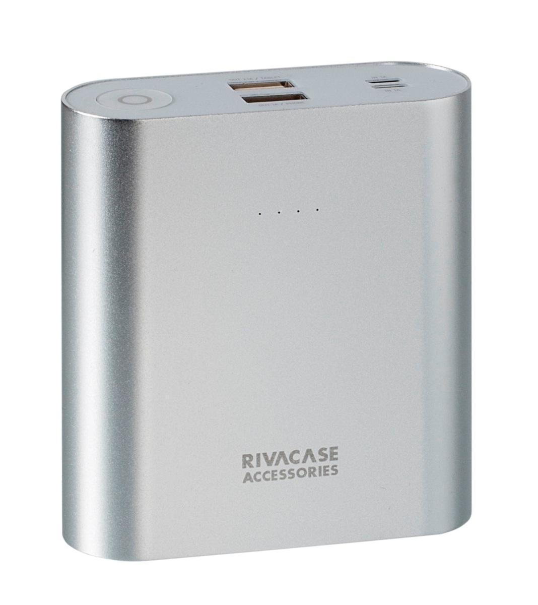 Rivapower VA1015 внешний аккумуляторVA 1015Rivapower VA1015 - литий-ионный внешний аккумулятор емкостью 15000 мАч. Устройство имеет два входа для заряда аккумуляторной батареи через кабель с Micro USB разъемом или через оригинальный кабель Apple Lightning. Два USB выхода с суммарным током до 3.1А позволяют быстро заряжать 2 устройства одновременно. Аккумулятор совместим с наиболее популярными мобильными устройствами, в том числе и с iPhone, iPad. Rivapower VA1015 автоматически включится при подключении мобильного устройства к аккумулятору и выключится при завершении зарядки. Четыре светодиодных индикатора на лицевой стороне показывают уровень заряда аккумулятора. Встроенная защита от перегрева, перезаряда, переразряда, перегрузки по току и короткого замыкания защитят прибор от порчи и выхода из строя. Надежный алюминиевый корпус предохраняет устройство от случайного повреждения, поглощает и отводит тепло, производимое аккумулятором. Полностью заряженный аккумулятор Rivapower VA1015 заряжает смартфон до...