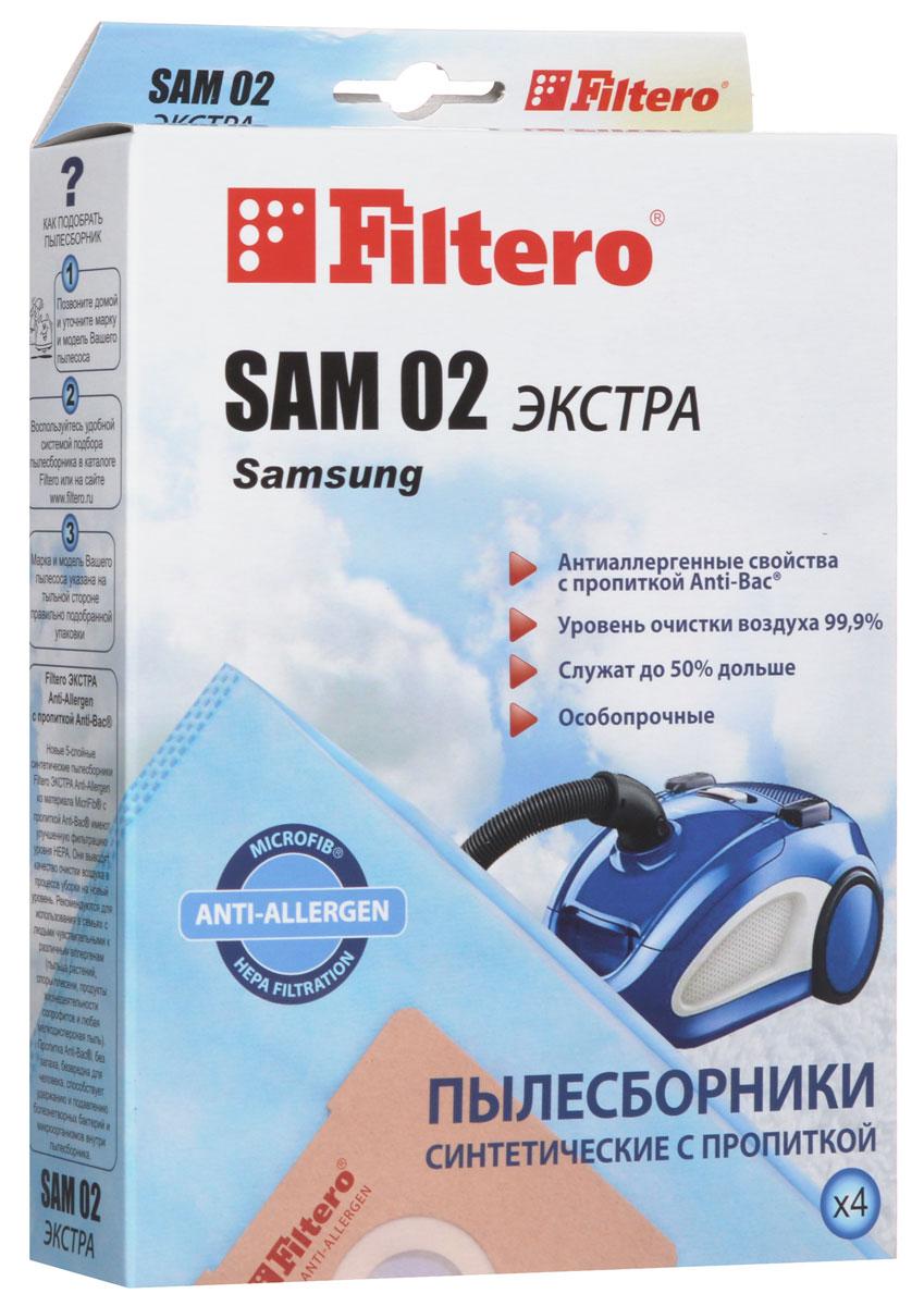 Filtero SAM 02 Экстра пылесборник (4 шт)SAM 02 (4) ЭКСТРАПылесборники Filtero SAM 02 Экстра произведены из синтетического микроволокна MicroFib с антибактериальной пропиткой Anti-Bac. Очень прочные, они не боятся острых предметов и влаги, собирают больше пыли (до 50%) и обеспечивают уровень очистки воздуха 99,9%, а также задерживают бактерии и препятствуют их распространению. При этом мощность всасывания пылесоса сохраняется в течение всего периода службы пылесборника. Пылесборники подходят для следующих моделей пылесосов: SAMSUNG NC 550 NC 62... RC 550 RC 58… например: RC 5862 SC 31... SC 51... Easy clean SC 53... Easy clean SC 69… SC 70... Duo Cleaning SC 72... Eco Fresh SC 75... например: SC 7540 H VC 550 VC 58… например: VC 5853 VC 59... VC 61… VC 63... VC 67... VC 68... VC 69... VC 71... VC 86… AKIRA VC-R 1201, 1404, 1406, VC-S 1502 BL BIMATEK V 1101, V 1801, V 6514, V...