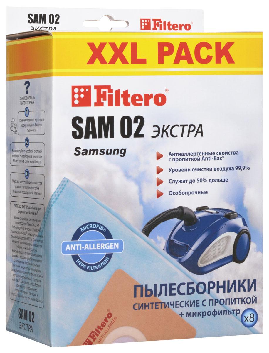 Filtero SAM 02 XXL Pack Экстра пылесборник (8 шт)SAM 02 (8) XXL PACK ЭКСТРАПылесборники Filtero SAM 02 XXL Pack Экстра Anti-Allergen произведены из синтетического микроволокна MicroFib с антибактериальной пропиткой Anti-Bac. Очень прочные, они не боятся острых предметов и влаги, собирают больше пыли (до 50%) и обеспечивают уровень очистки воздуха 99,9%, а также задерживают бактерии и препятствуют их распространению. При этом мощность всасывания пылесоса сохраняется в течение всего периода службы пылесборника. Пылесборники подходят для следующих моделей пылесосов: SAMSUNG SC 31... SC 51... Easy & Clean SC 52... Easy SC 53... Easy & Clean SC 54... SC 69... SC 70... Duo Cleaning SC 72... Eco Fresh SC 75... VC 58... например: VC 5853 VC 59... Easy VC 61... VC 63... Libece VC 67... VC 68... VC 69... VC 71... VC 86... AKIRA VC-R 1201, 1404, 1406, VC-S 1502 BL BIMATEK V 1101, V 1801, V 6514, V 6617, V 8518, V 9009...