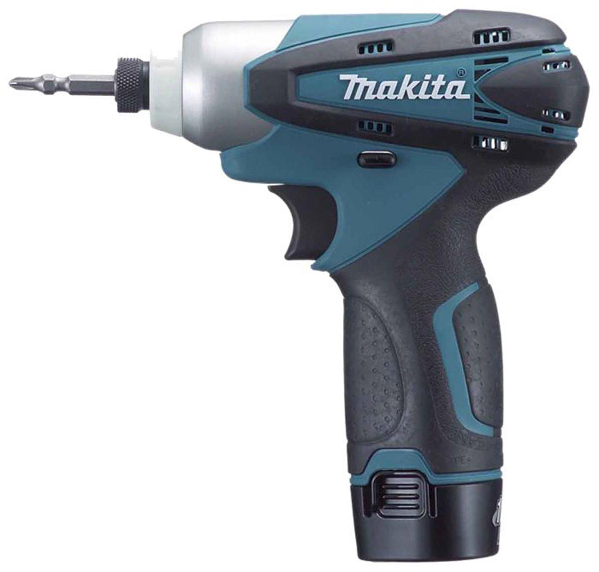 Шуруповерт ударный Makita TD090DWE, аккумуляторный164522Аккумуляторный ударный шуруповерт Makita TD090DWE предназначен для закручивания крепежных элементов. Можно использовать в слабоосвещенных местах, так как инструмент оборудован подсветкой. Возможна работа с мелкими (М4 - М5), стандартными (М5 - М12) и высокопрочными (М5 - М10) болтами, а также с шурупами (22-90 мм). Электронная регулировка числа оборотов делает работу более точной. Аккумулятор: 10,8 В; Емкость аккумулятора: 1,3 Ач; Тип аккумулятора: LiION.